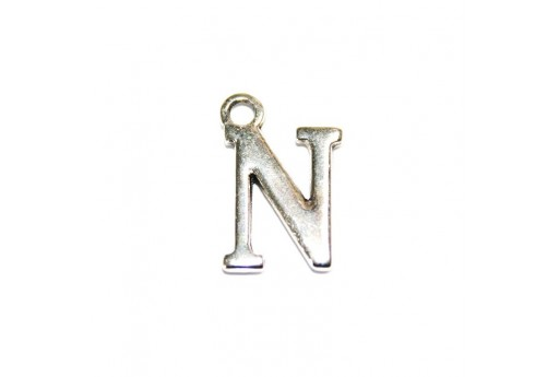 Antique Silver Plated Alphabet Charm Letter N  12mm - 2pcs