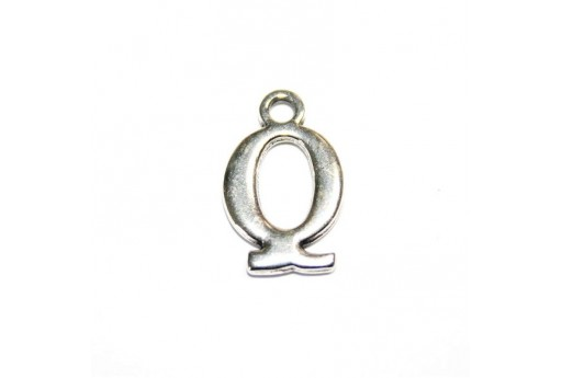 Antique Silver Plated Alphabet Charm Letter Q 12mm - 2pcs