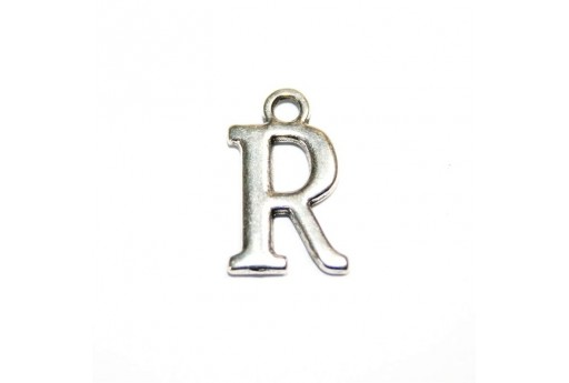 Antique Silver Plated Alphabet Charm Letter R 12mm - 2pcs