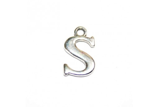 Antique Silver Plated Alphabet Charm Letter S 12mm - 2pcs