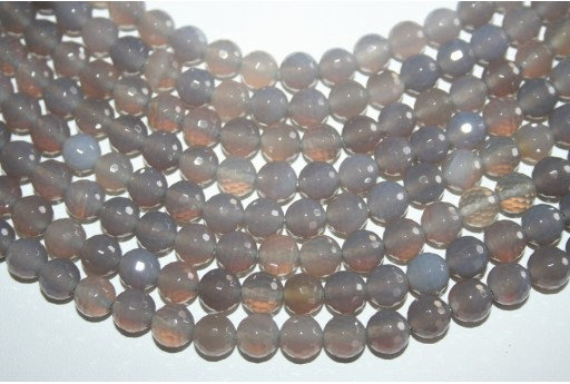 Agate Beads Grey Faceted Sphere 8mm - 46pz
