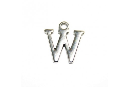 Antique Silver Plated Alphabet Charm Letter W 12mm - 2pcs