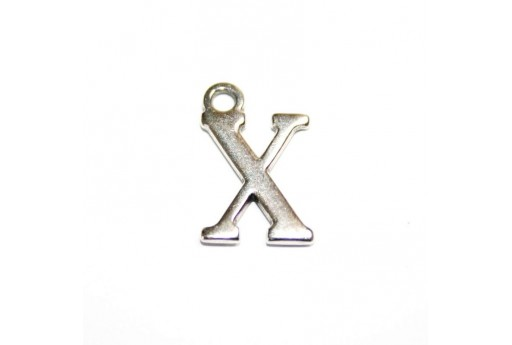 Antique Silver Plated Alphabet Charm Letter X 12mm - 2pcs