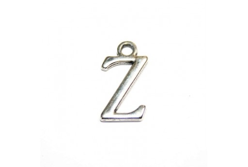 Antique Silver Plated Alphabet Charm Letter Z 12mm - 2pcs