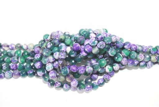 Fire Agate Beads Purple-Green Sphere 6mm - 60pz