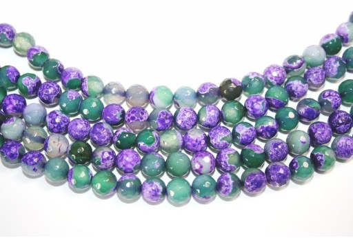 Fire Agate Beads Purple-Green Sphere 8mm - 46pz