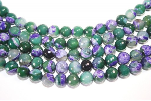 Fire Agate Beads Purple-Green Sphere 10mm - 36pz