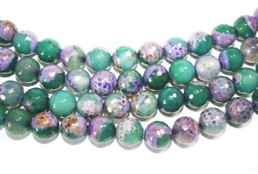 Fire Agate Beads Purple-Green Sphere 12mm - 32pz