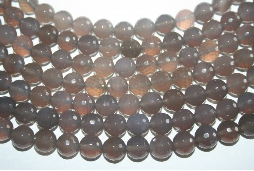 Agate Beads Grey Faceted Sphere 10mm - 38pz