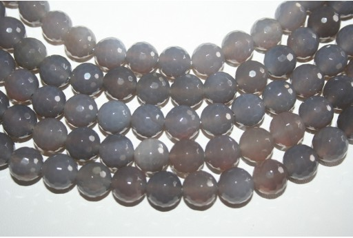Agate Beads Grey Faceted Sphere 12mm - 32pz