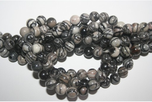 Jasper Beads Veined Black Sphere 8mm - 48pz