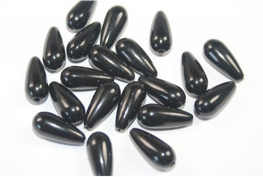 Pearl Acrylic Drop Beads Black 17x8mm - 24pcs