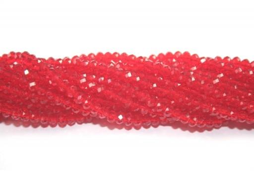 Cristallo Cinese Rondella Sfaccettata Rosso Chiaro 4x3mm - 150pz