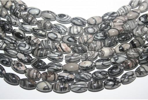 Jasper Beads Veined Black Oval 8x12mm - 30pz