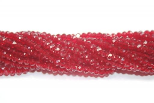 Cristallo Cinese Rondella Sfaccettata Rosso Medium 4x3mm - 150pz