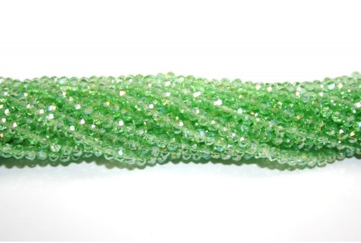 Chinese Crystal Beads Faceted Rondelle Green AB 4x3mm - 132pcs