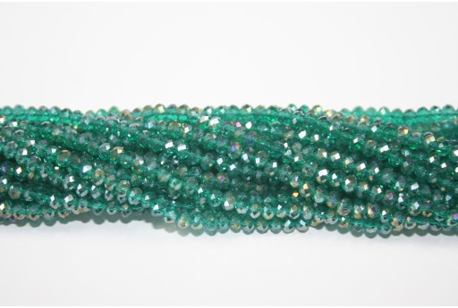 Chinese Crystal Beads Faceted Rondelle Emerald AB 4x3mm - 132pz