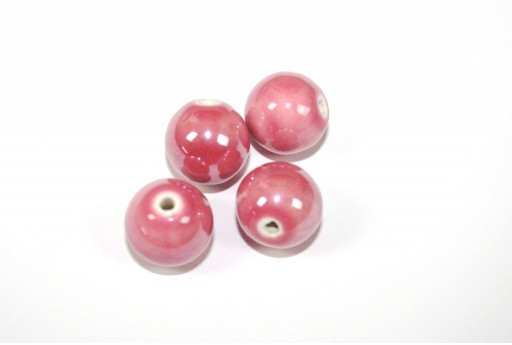 Ceramic Beads Round Dark Pink 16mm - 3pz