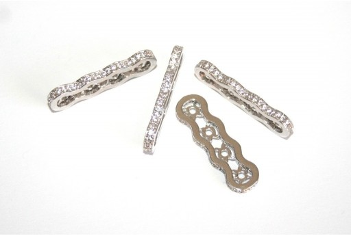 Cubic Zirconia Micro Pavè Spacer Four Row Platinum 2x7x25mm