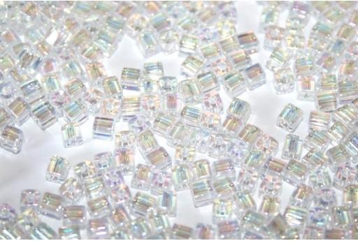 Perline Miyuki Cubo Crystal AB 3x3mm - 10gr