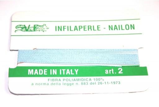 Light Blue Nylon Thread With Needle Size 2 - 2pcs