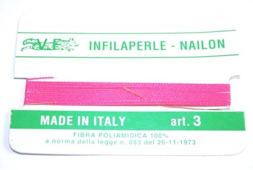 Fuchsia Nylon Thread With Needle Size 3 - 2pcs