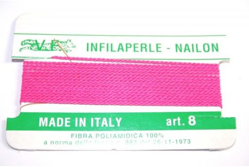 Fuchsia Nylon Thread With Needle Size 8 - 2pcs