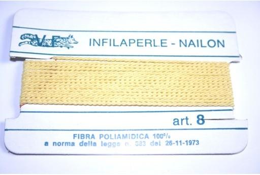 Filo Nylon Infilaperle con Ago Giallo Misura 8 - 2pz