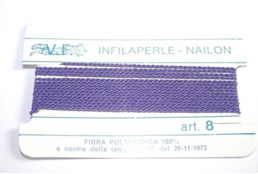 Filo Nylon Infilaperle con Ago Viola Misura 8 - 2pz