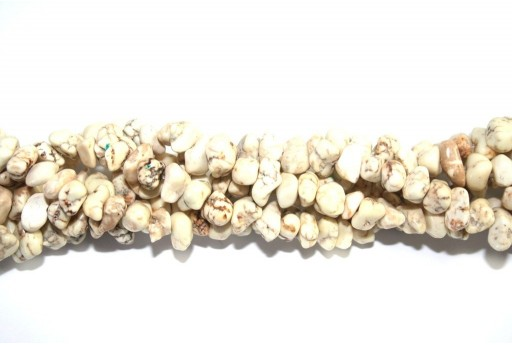 Magnesite Beads Chips Beige 6x12mm - 90pcs