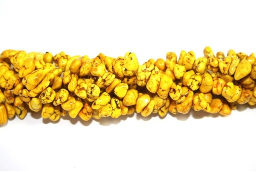 Magnesite Beads Chips Yellow 6x12mm - 90pcs