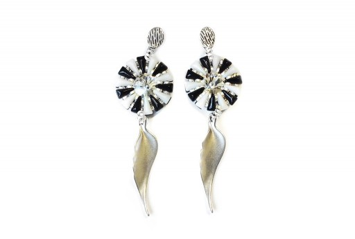 Motif Angel Pendant Earrings Kit Black - White