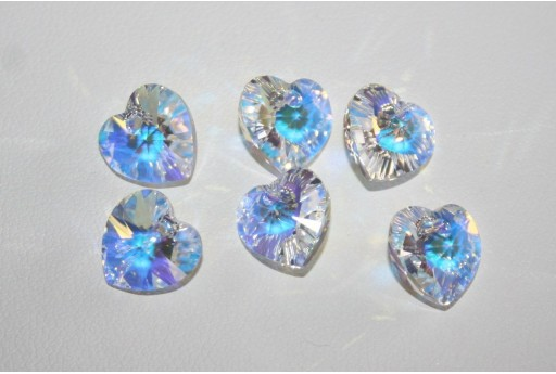 Swarovski Heart Pendant 10,3x10mm Crystal AB - 2pcs
