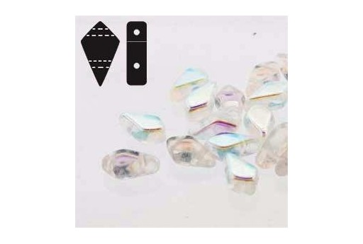 Czech Glass Beads Kite Crystal AB 9x5mm - 10gr