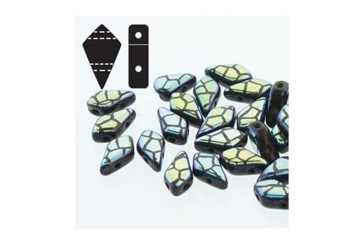 Czech Glass Beads Kite Jet Laser Cracked 9x5mm - 5gr