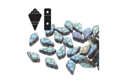 Czech Glass Beads Kite Jet Laser Cracked Matt 9x5mm - 5gr
