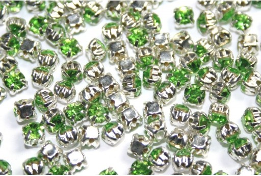 Glass Rhinestone Montee Beads Light Green SS16 - 20pcs