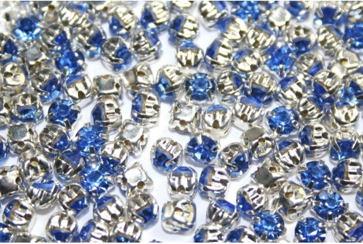 Glass Rhinestone Montee Beads Light Blue SS16 - 20pcs