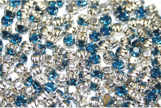 Glass Rhinestone Montee Beads Blue Medium SS16 - 20pcs