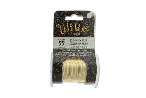 Lacquered Tarnish Resistant Wire Gold 22ga - 20yd