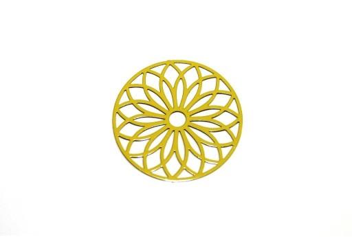 Mustard Yellow Laser Cut Filigree - Round 24mm - 2pcs