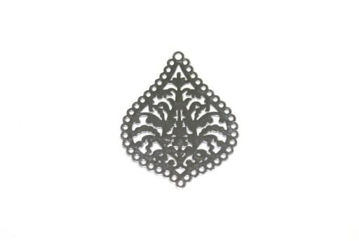 Silver Laser Cut Filigree - Drop 21x25mm - 4pcs