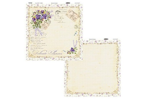 Carta Decorata Delicate Pansies To-Do 30x30cm 1pz