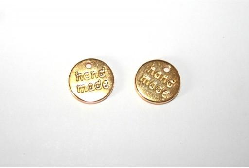 Hand Made Pendant Gold 11mm -4pcs