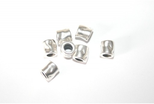 Bead Hammered Antique Silver 7x7mm -3pcs