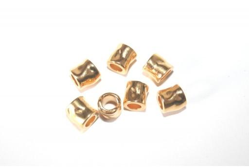 Bead Hammered Gold 7x7mm -3pcs