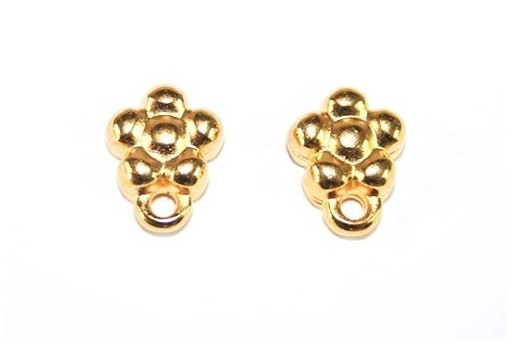 Gold Earring Flower 7x9,5mm - 2pcs
