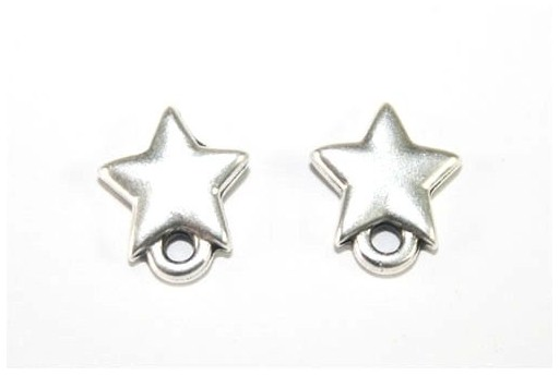 Silver Earring Star 9x10mm - 2pcs