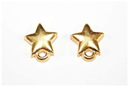 Gold Earring Star 9x10mm - 2pcs