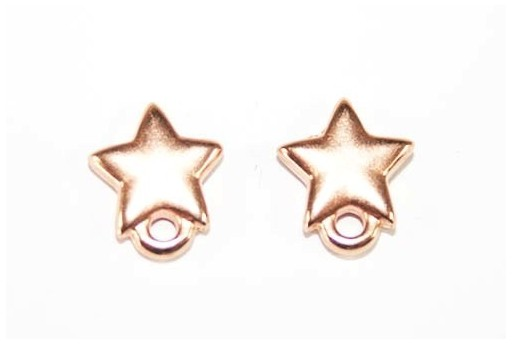 Rose Gold Earring Star 9x10mm - 2pcs
